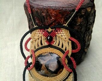 macrame necklace with estrematolite, onyx and tiger eye stones