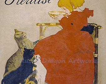 "Theophile Steinlen ""Lait Pur de la Vingeanne Stirilise"" Girl Milk Cats 1894 Reproduction Digital Print Vintage Print Wall Hanging"