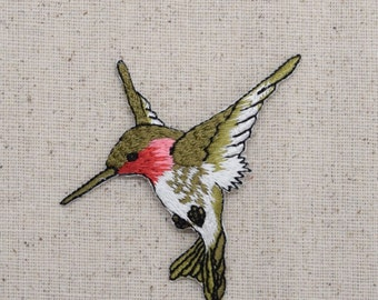 Hummingbird - Large - Ruby Red Throat - Facing Right or Left - Iron on Applique - Embroidered Patch - 696075