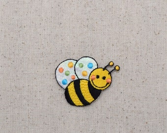 Childrens - Small Shimmery Bumble Bee - Iron on Applique - Embroidered Patch - 1120833