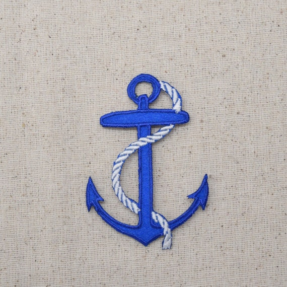 Large blue nautical anchor white rope iron on applique for Large nautical rope