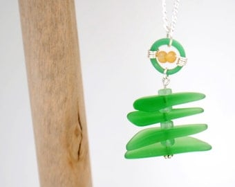 Green Recycled Glass Christmas Tree Necklace