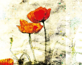 Red Poppies Greeting Card 04