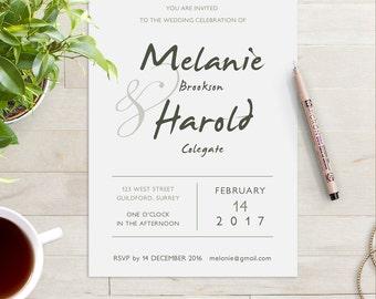 Printable Wedding Invitation Any colour and text then print yourself | Custom invitation | Custom Wedding invite