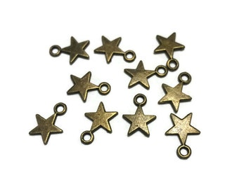 Star Charms - Bronze Star Charms - Small Star Charms - Lot of Bronze Star Charms - Bronze Charms - Jewelry Supplies
