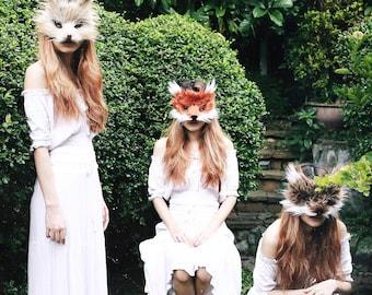 Faux Fur Mountain Rabbit Mask, handmade by Spirit Parade
