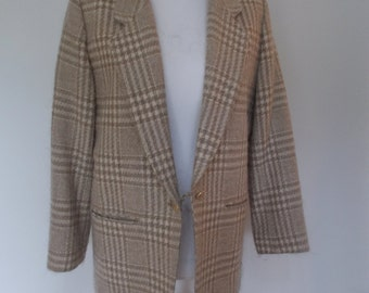 Vintage checked jacket 80s taupe cream jacket by Pendleton Woolen Mills size large extra large