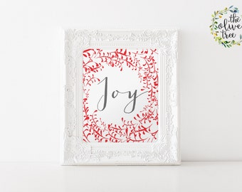 Christmas print, Winter printable Holiday wall art decor, Joy art Print, INSTANT DOWNLOAD - Joy
