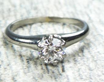 Vintage Diamond Engagement Ring Palladium Ring Round Brilliant Diamond Ring .60 Carat Diamond Vintage Engagement Solitaire Diamond Ring