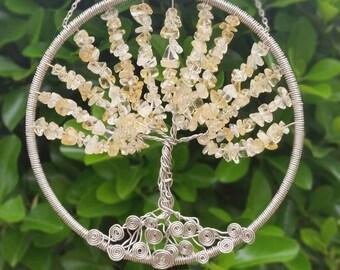 Sale! Tree of Life Citrine Sun Catcher, Dream Catcher,  Wall Art, Window Hanging, wire tree, wire tree of life