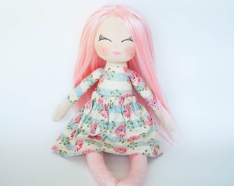 Doll with pink hair, rag doll, cloth doll, gift for little girl, birthday gift, christening gift, pink doll