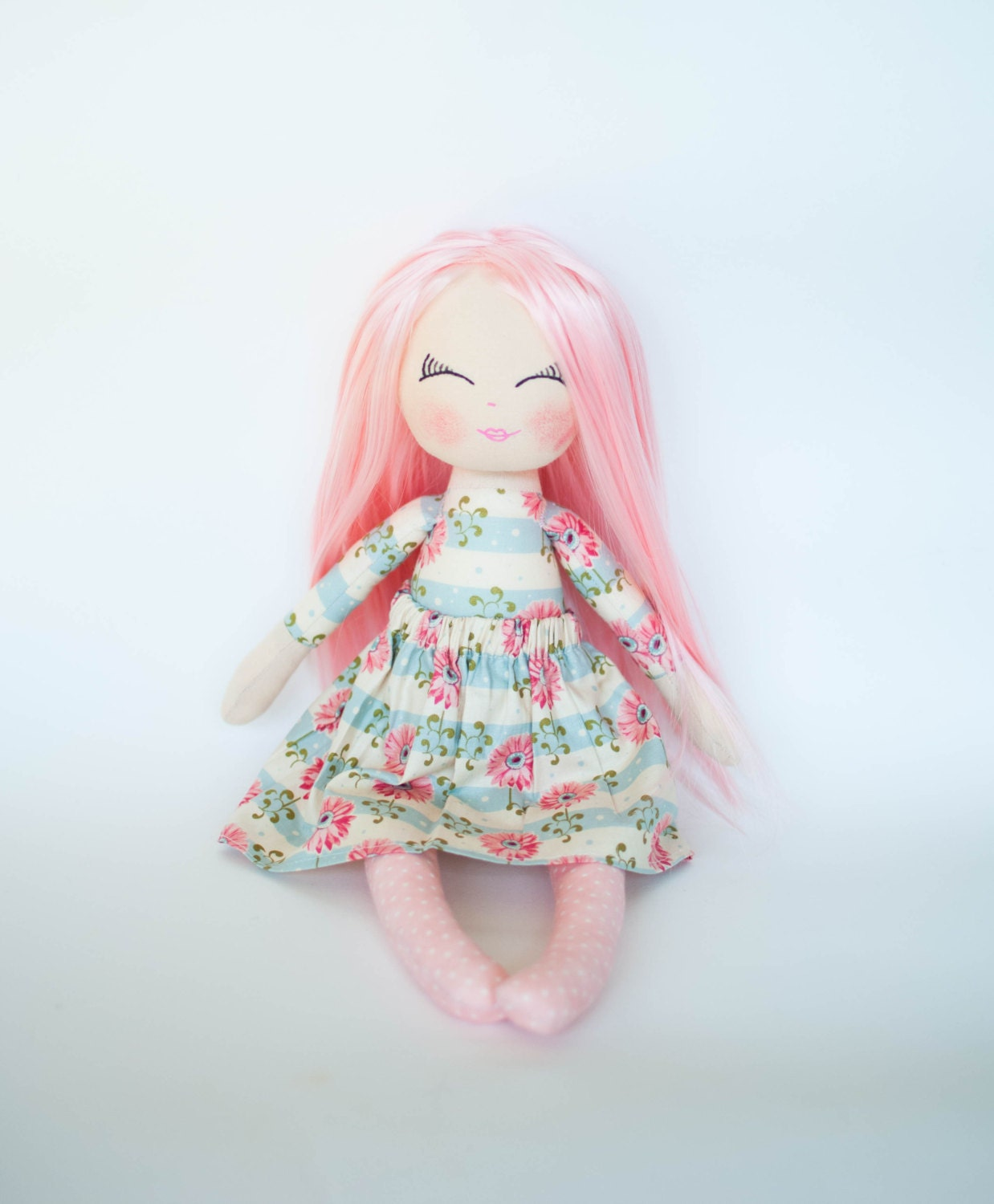 Doll With Pink Hair Rag Doll Cloth Doll Gift For Little