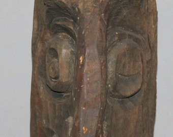 Antique Hand Carved Wood Treen Abstract Head Stub Sculpture