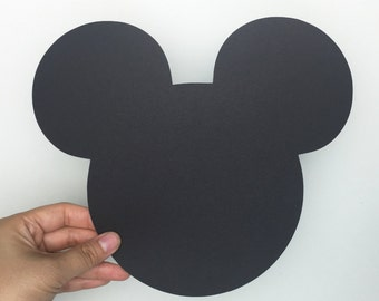 10 Large Black Mickey Mouse die cuts 8.0x9.0 inches, Mickey Mouse Birthday, Mickey Mouse Baby Shower, Mickey Party, Disney die cuts