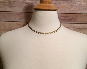 Gold Choker Necklace | Gold necklace, choker necklace, banner necklace, brass, Belle