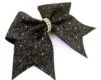 Gold glitter cheer bow, cheer bow, black cheer bow, cheerleading bow, cheerleader bow, cheer bows, softball bow, dance bow, hair bow, bow