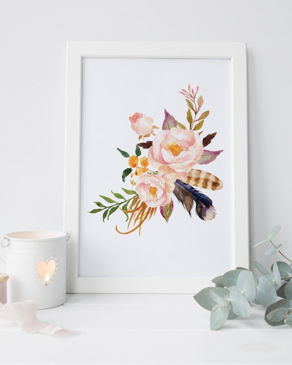 Shabby chic wall decor floral nursery print watercolor flower for Shabby chic wall art