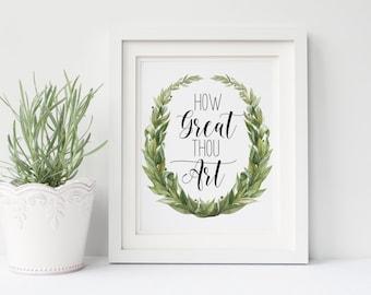 "PRINTABLE Art ""How Great Thou Art"" Typography Art Print Bible Verse Art Print Christian Art Print Christian Wall Art Nursery Art Print"