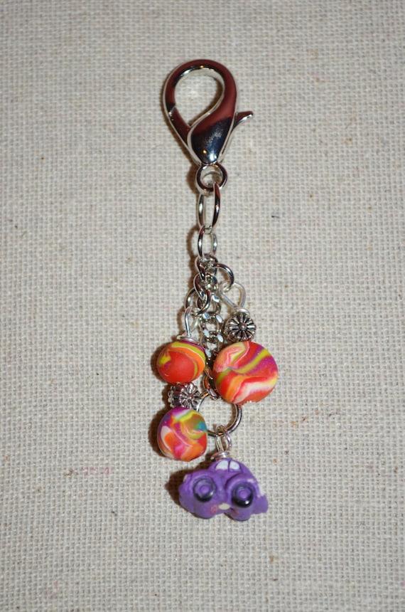 Zipper Charm VW Beetle Keychain Tie Dye Clay Beads & VW Bug Clip Purple Beetle