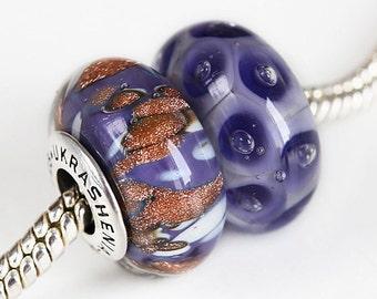Lampwork glass Charm bead. Silver caps and core large hole lampwork bead handmade, Fits Pandora. Handmade Lampwork European Charm bead
