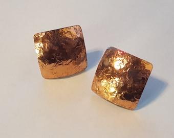 Gret Barkin Hand Forged Copper Screw Back Earrings