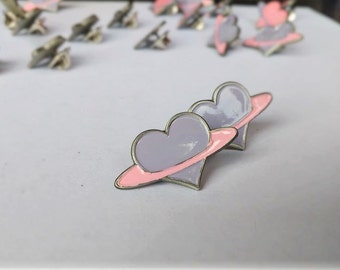 Pastel Purple Heart Enamel Pin (Hand Painted, Hard Enamel Lavender Space Heart Lapel Pin)