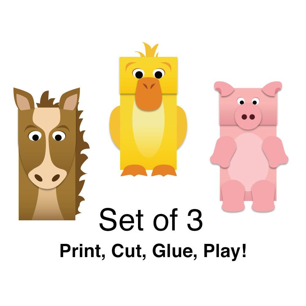Farm Animals Paper Bag Puppets Full Color Downloadable