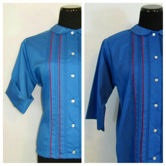 60s button down shirt vintage royal blue glenbrooke blouse for Royals button up shirt