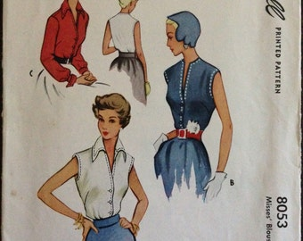 McCall 8053 - 1950s Button Front Blouse with V Neck or Pointed Collar - Size 14 Bust 32