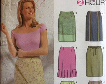 Simplicity 9696 - Two Hour Skirt with Dart Fitted Waist and Ruffle Option - Size 4 6 8 10