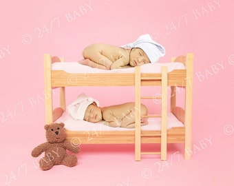 Digital Studio Backdrop Instant Download Pink Twin Sleepy Bunkbed Girl Scene Prop Newborn Baby Photography