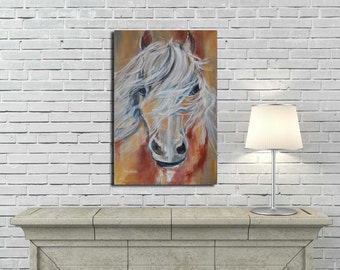 """ON SALE 40% Modern Original Horse Painting  20"""" x 30"""" x 1.5"""" Ready to hang."""