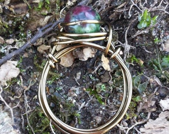 Ruby Zoisite Wire - Wrapped Ring