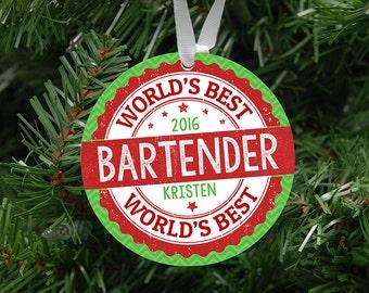 Personalized World's Best Bartender, Waitress, Waiter or Party Planner Ornament Keepsake - Custom Made to Order - 2017