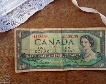 Vintage Canadian Dollar, 1954 Canada One Dollar, Mid Century Money, Vintage Note, Bank Of Canada