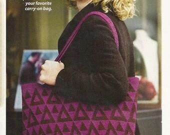 Geometric Tote Bag Crochet Pattern Sturdy 13 x 18 x 4 inches