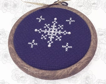 Handmade 'Snowflake' Cross Stitch