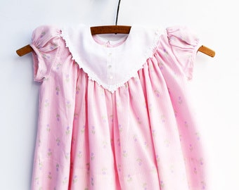 Baby Girl Dress, Pink Floral Baby Dress, 1960s, Baby Clothes, 9 Months