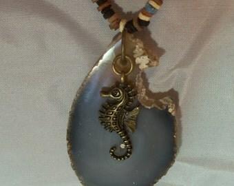 20 inch seaside necklace Geode pendant