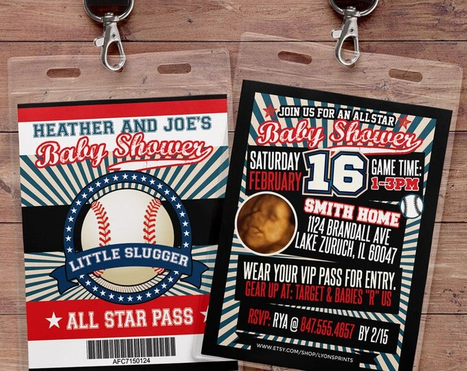 Vintage Baseball Shower Invitation // All Star Little Slugger Baby Shower //  BIRTHDAY invitation, baseball, sports, baseball birthday