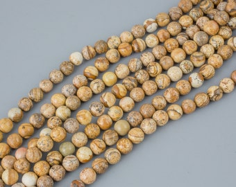 Bulk Wholesale Volume- Picture Jasper Smooth Round 6mm, 8mm, 10mm, 12mm, 14mm- 10 Strands Per Order