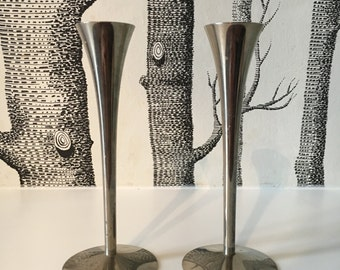 Mid Century Solingen Germany Stainless Steel Candle Holders