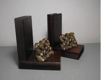 Brass Monkey Bookends/3 Wise Monkeys Bookends/See No Evil Hear No Evil Speak No Evil/Brass Bookends/Monkey Figurine/Brass Monkeys