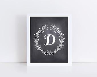 Letter D Printable, 24x24, Instant Download, Initial D, Floral Monogram, D Print, Black and White Nursery Decor, Capital Letter Art