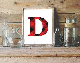 Letter D Printable, 8x10, Instant Download, Initial D, Plaid Monogram, D Print, Plaid Nursery Decor, Capital Letter Art, Plaid D Wall Art