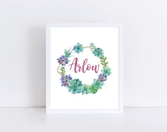 Name Printable, Succulent Nursery Art, Floral Nursery Art, Custom Name Print, Arlow Print, Baby Monogram, Succulent Nursery, Arlow Art