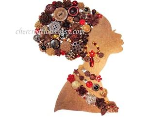 Button Art PRINT 8x10 of orginial Button Artwork, diy, Swarovski, african art, african american art, africa, ethnic art, made in USA