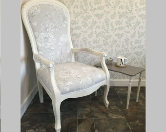 Pretty Shabby Chic/French Louis Style Armchair in cream/neutral colours