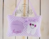 Purple Polka Dot Tooth Fairy Pillow, Girly Purple Tooth Fairy Pillow, Personalized Tooth Fairy Pillow, Girly Lace Tooth Fairy Pillow