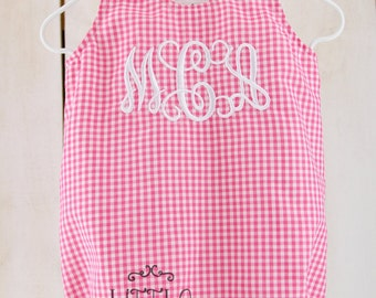 Monogrammed Gingham Baby Bubble Romper, Girly Gingham baby bubble romper, Summer/Spring Baby Bubble Romper, Girly Gameday Monogram Romper